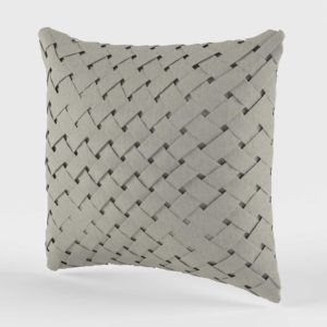 C&B 3D Brit Basketweave Pillow with Feather Down Insert
