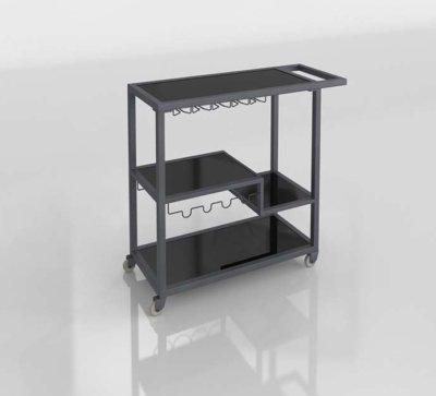 Modern 3D Bar Cart Design
